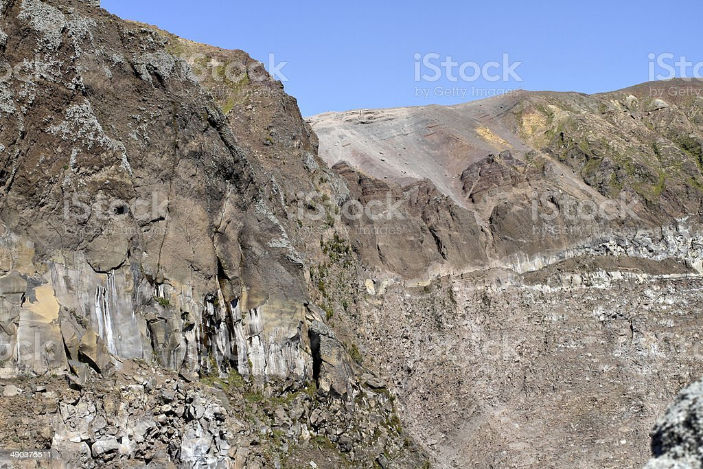 Vesuvius west and north walls of volcanic crater stock photo