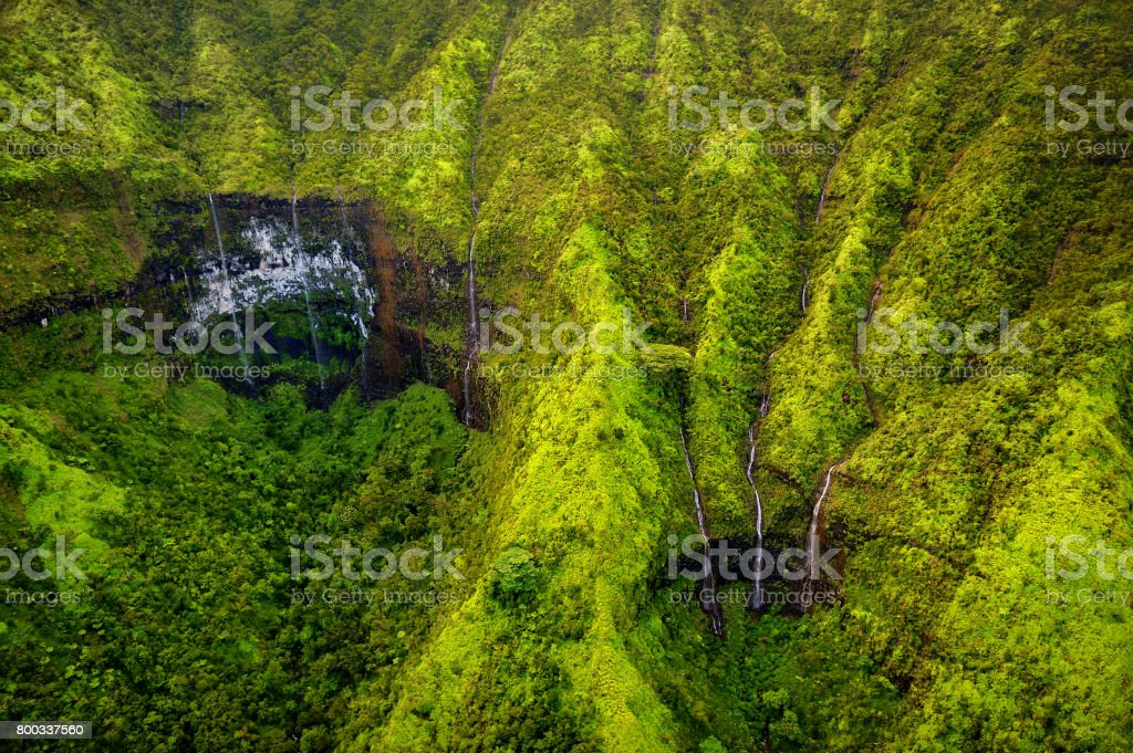 Mount Waialeale known as the wettest spot on Earth, Kauai stock photo