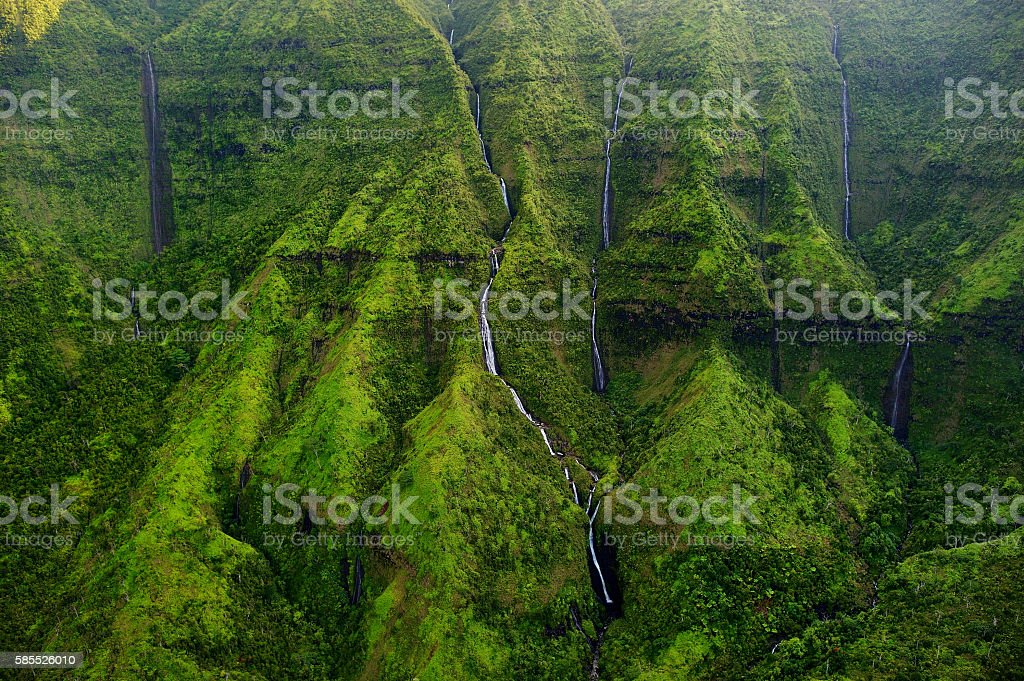 Mount Waialeale known as the wettest spot on Earth stock photo