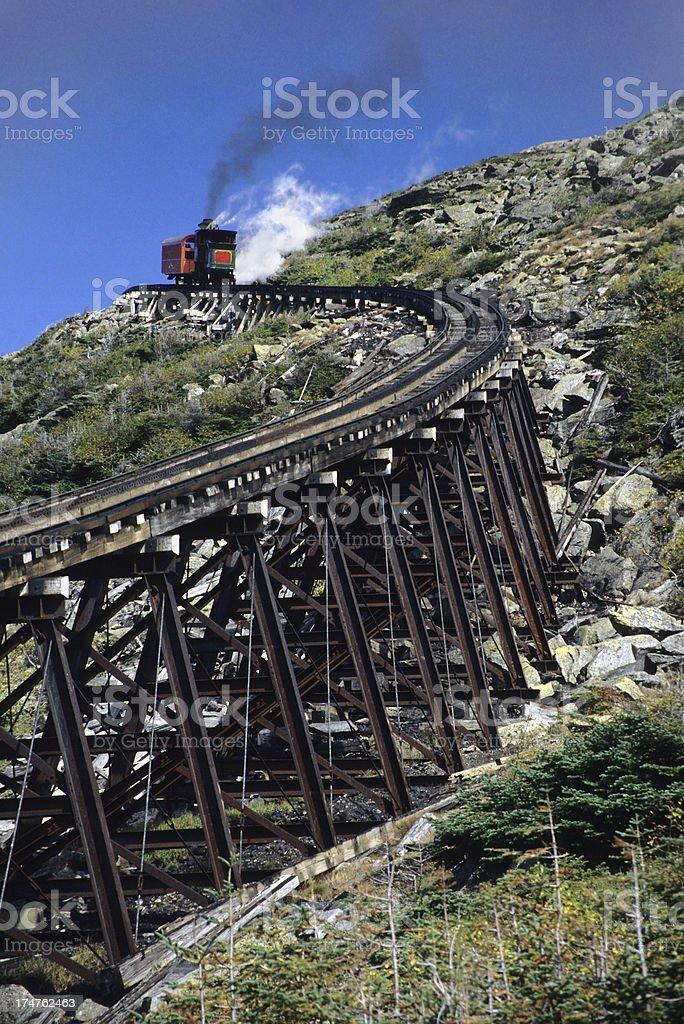 Mount Washington cog railway New Hampshire stock photo