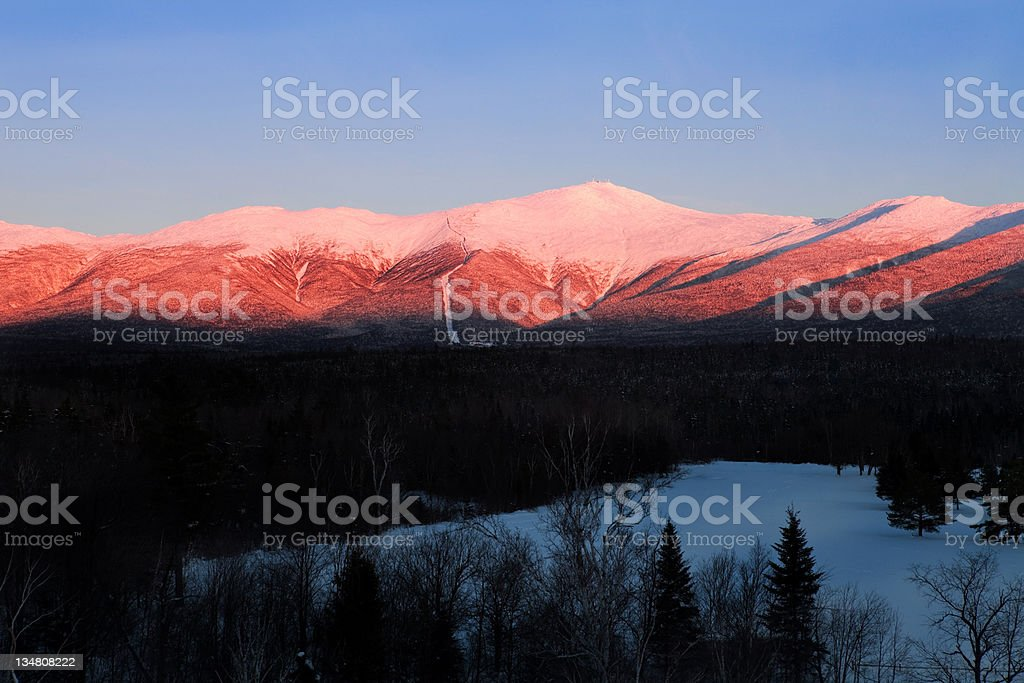 Mount Washington, New Hampshire on a clear blue day stock photo