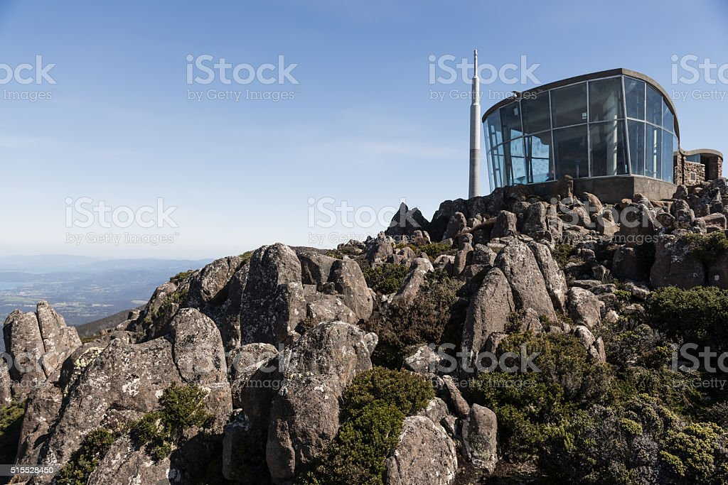 Mount Wellington Summit Lookout with Clear Skies, Rocks and Shrubs stock photo