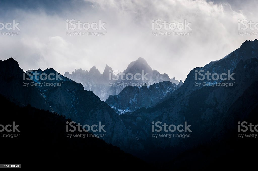Mount Whitney in late afternoon, with clouds stock photo