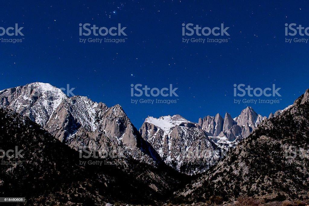 Mount Whitney under the stars at night stock photo