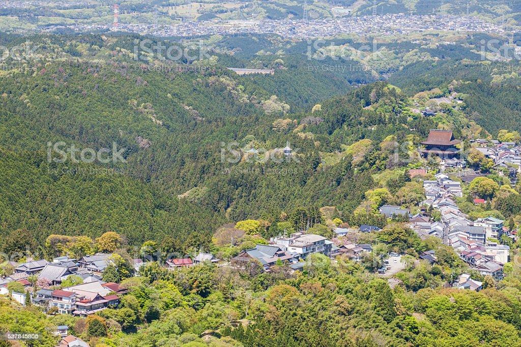 Mount Yoshino and Yoshino town at Nara prefecture stock photo