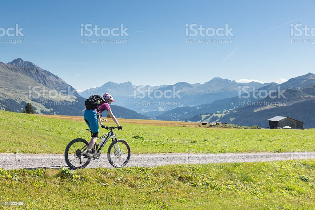Mountaibike region Lenzerheide, Switzerland stock photo
