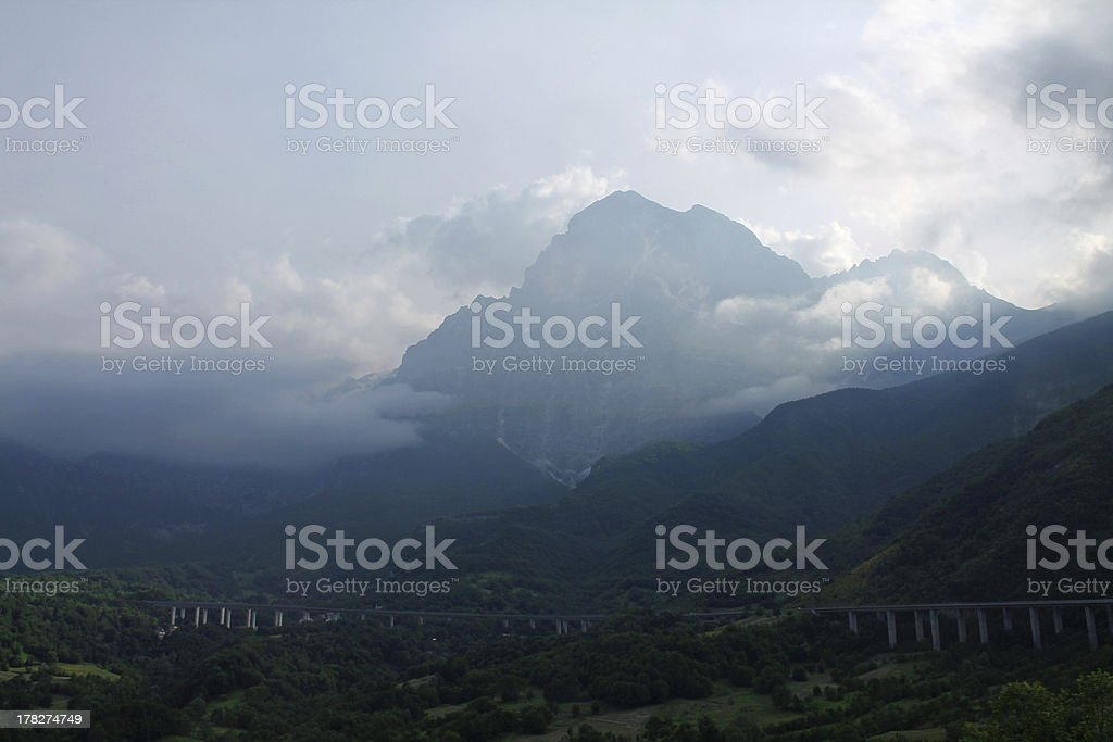 Mountain above the highway royalty-free stock photo