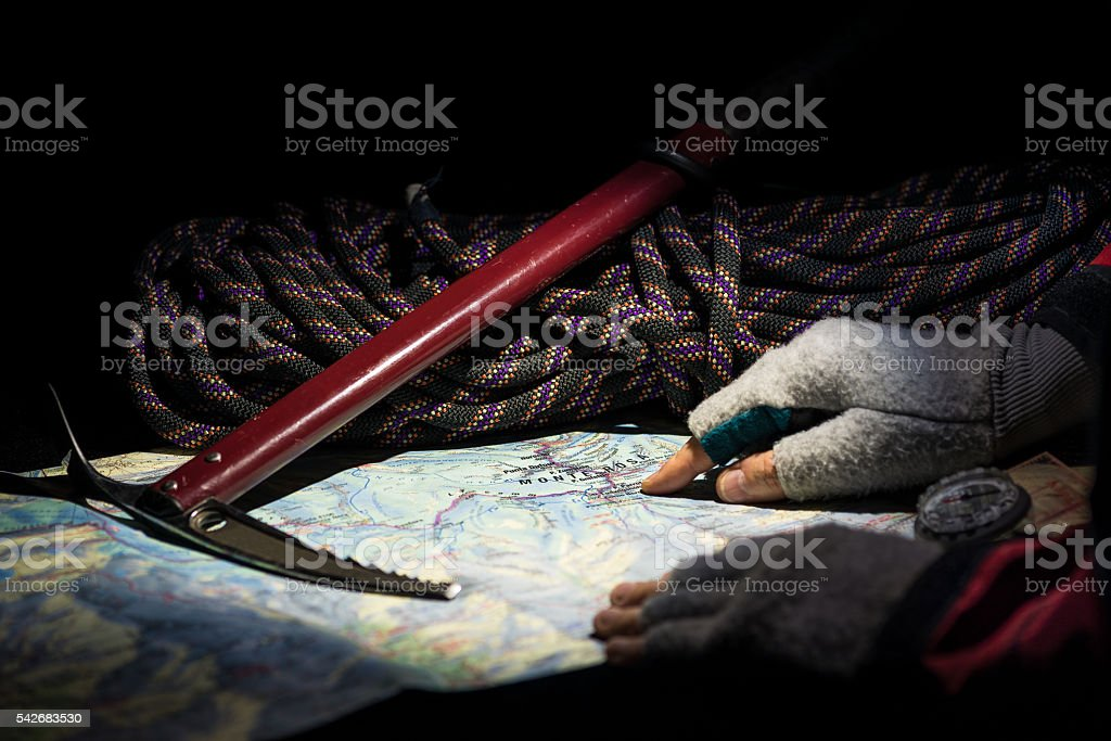 Mountain adventures - Planning of the climb to the Monte Rosa stock photo