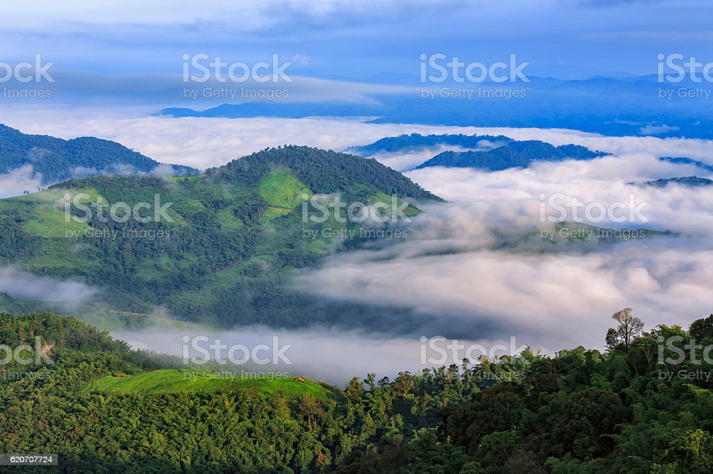 Mountain after raining with Doi Pha Mee, Chiang Rai, Thailand. stock photo