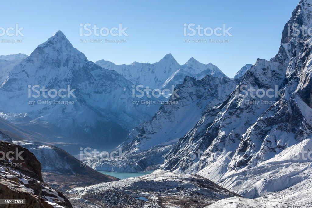 Mountain Ama Dablam summit on the Everest Base Camp stock photo