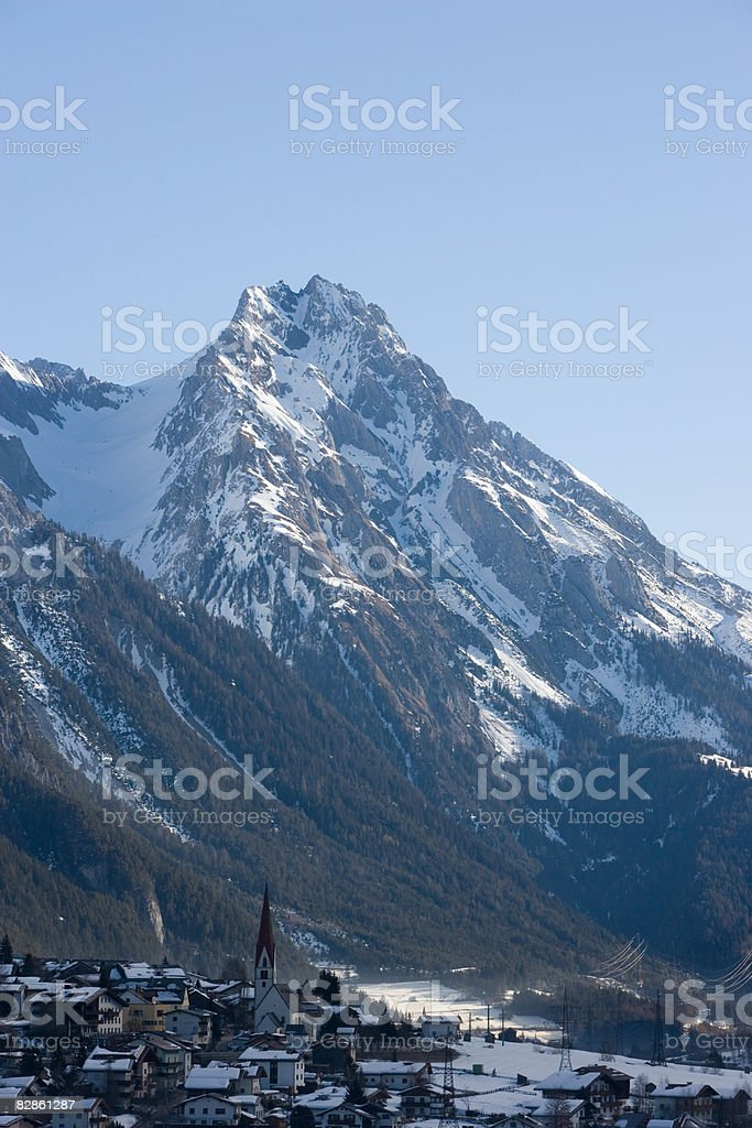 A mountain and a ski resort royalty-free stock photo