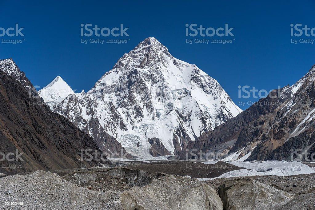 K2 mountain and Angel peak, Concordia camp stock photo