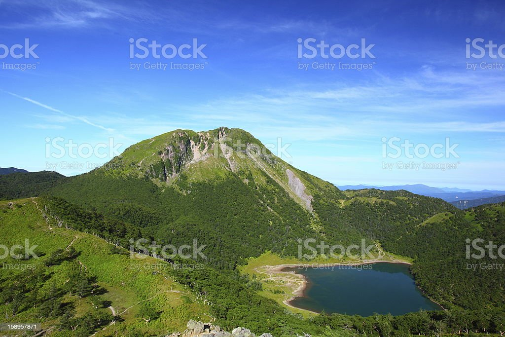 Mountain and blue pond stock photo