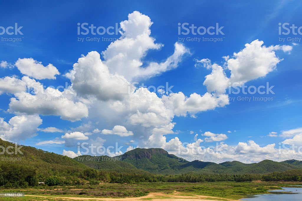 Mountain and clouds with blue sky royalty-free stock photo