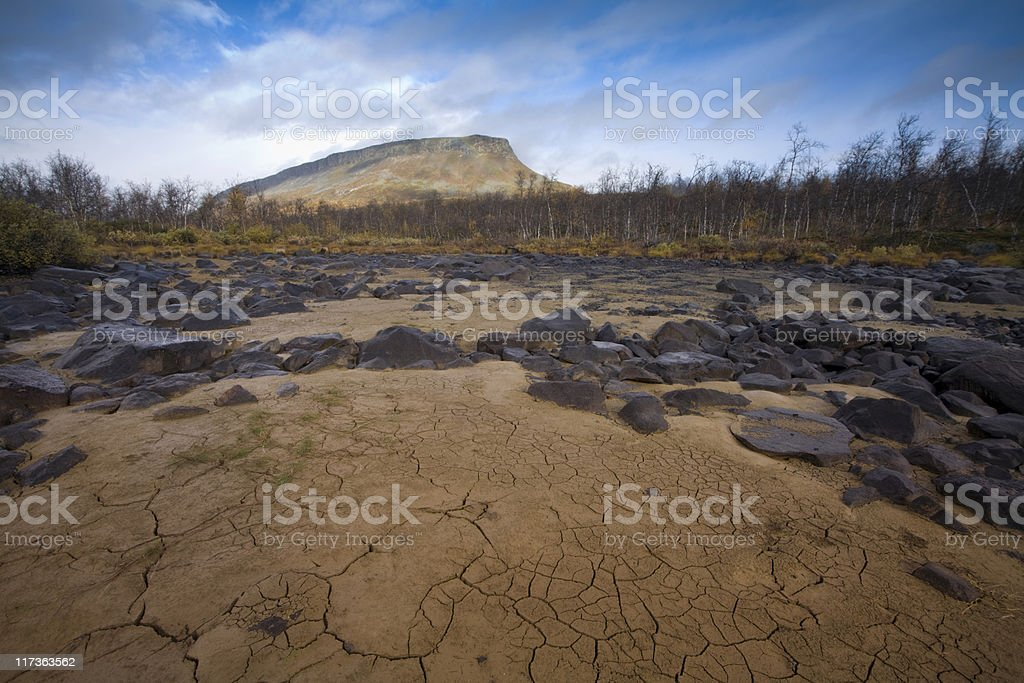 Mountain and dried river royalty-free stock photo