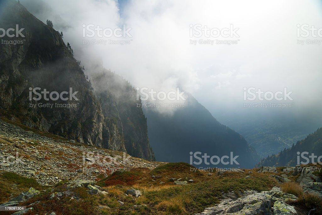 Mountain and fog stock photo