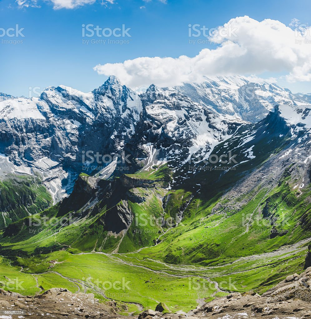 mountain and glaciers on summer with snow stock photo