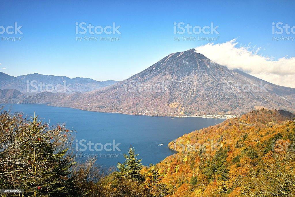 Mountain and Lake in autumn stock photo