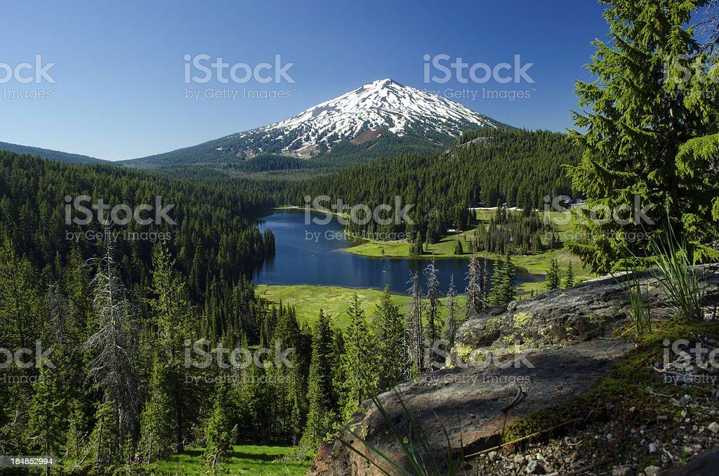 Mountain and lake scenic-Mt Bachelor and Todd Lake Oregon stock photo