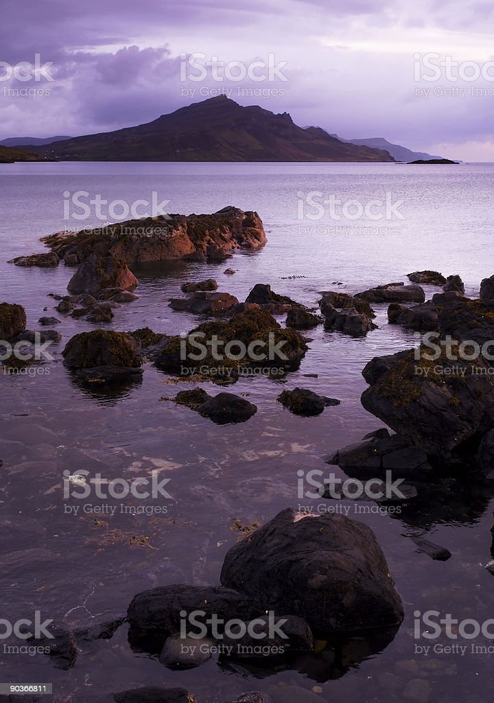 Mountain and loch at dawn stock photo