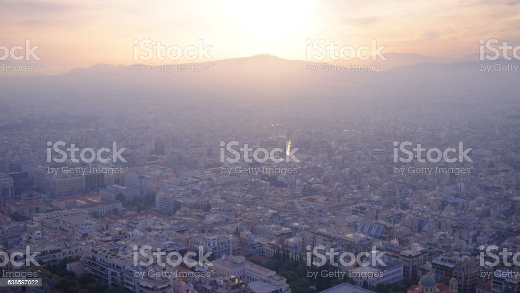 Mountain and majestic sunset over Athens  cityscape stock photo