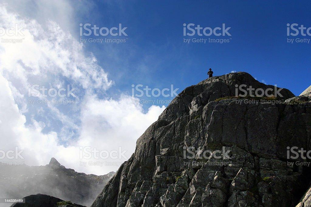 mountain and man royalty-free stock photo
