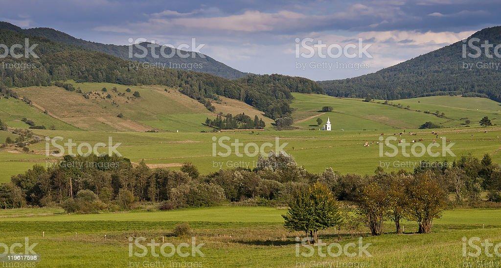 Mountain meadows Landschaft mit Kirche tower Lizenzfreies stock-foto