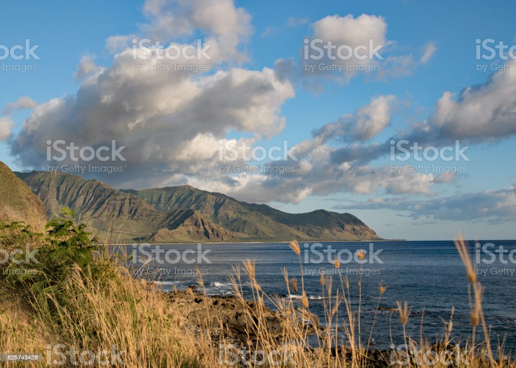 Mountain and ocean view in Kaena Point, Oahu, Hawaii stock photo