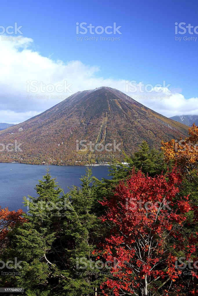 Mountain and pond in autumn stock photo
