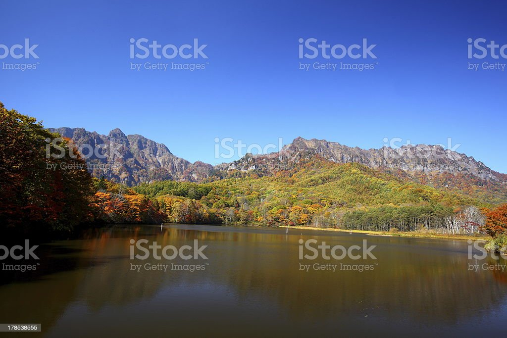 Mountain and pond in autumn royalty-free stock photo