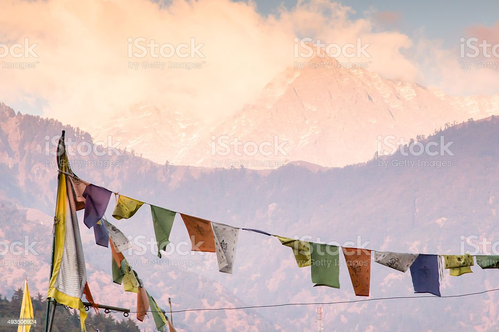 Mountain and Prayer Flags stock photo