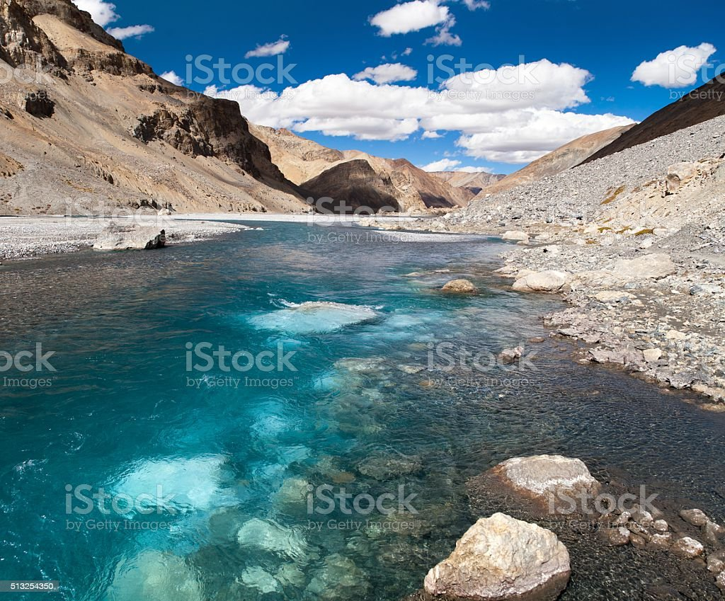 mountain and river in Rupshu valley stock photo
