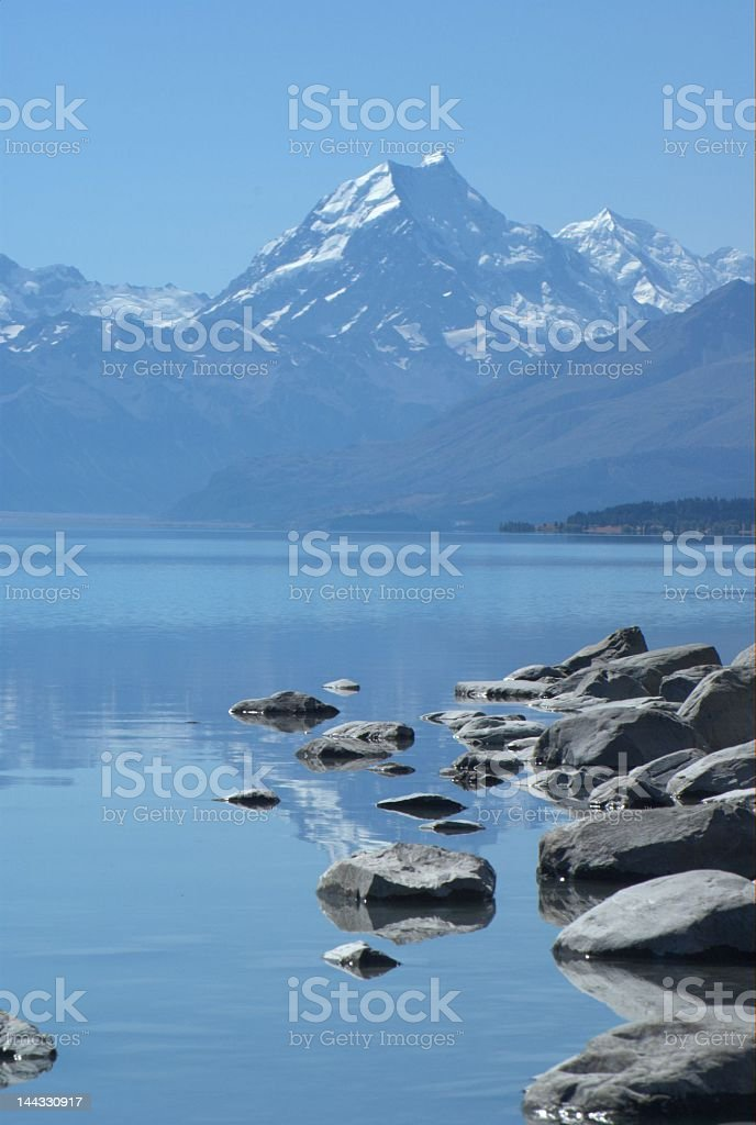 Mountain and rocky shore line royalty-free stock photo