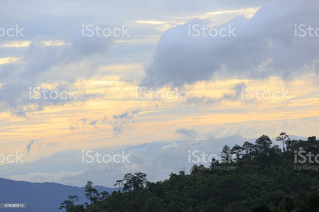 Mountain and sky with sunrise light in the morning stock photo