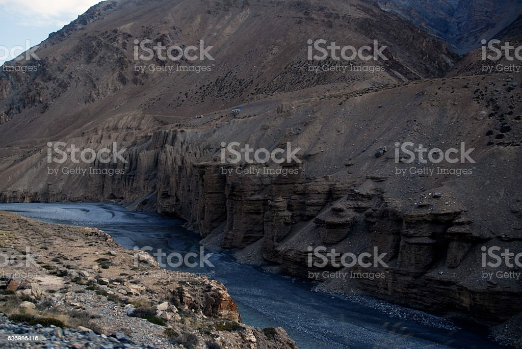 mountain and valley in sarchu stock photo