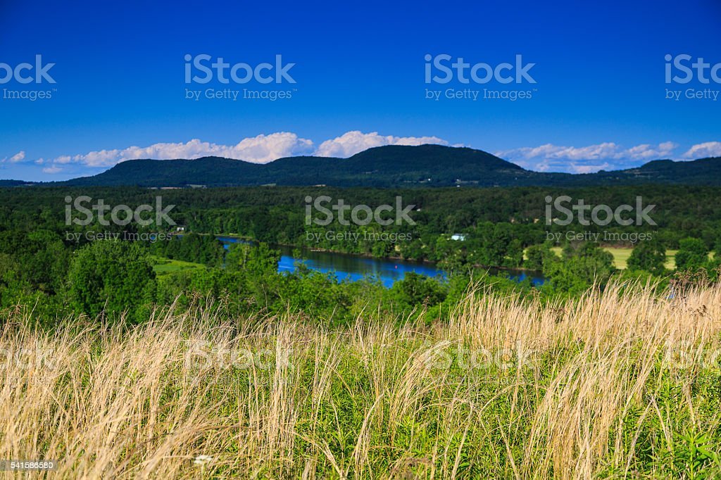 Mountain and valley view in Saratoga County NY stock photo