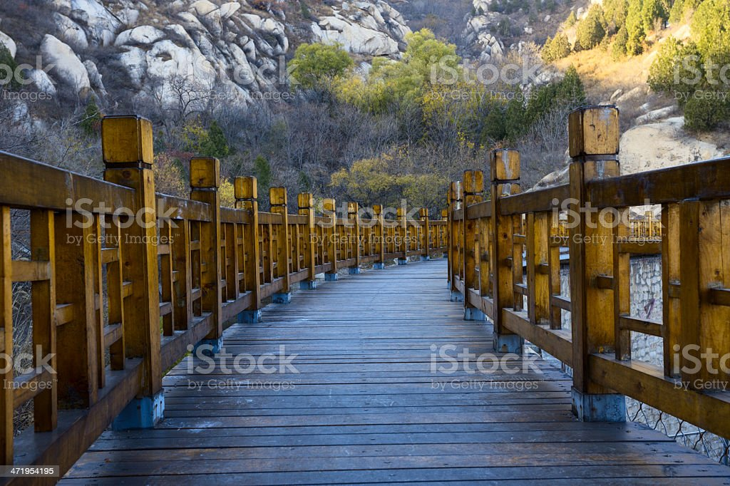 Mountain and wood steps stock photo