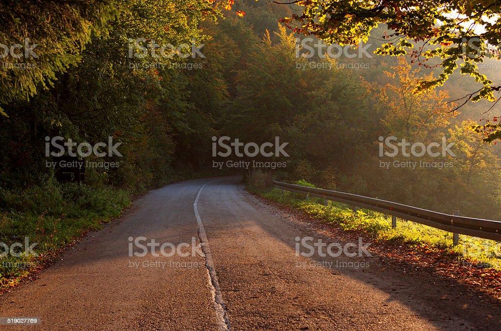 Montaña carretera asfaltada foto de stock libre de derechos