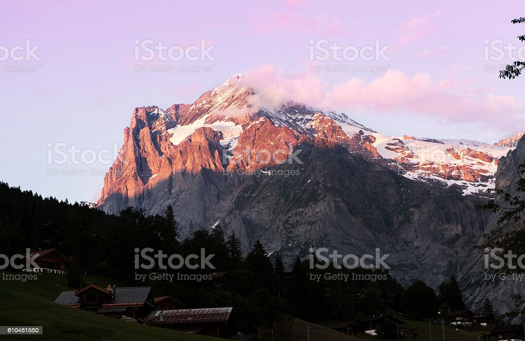 mountain at dusk stock photo