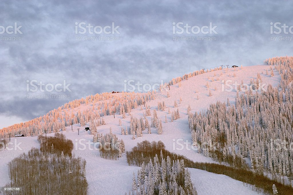 Mountain at winter, Steamboat ski resort, Colorado stock photo