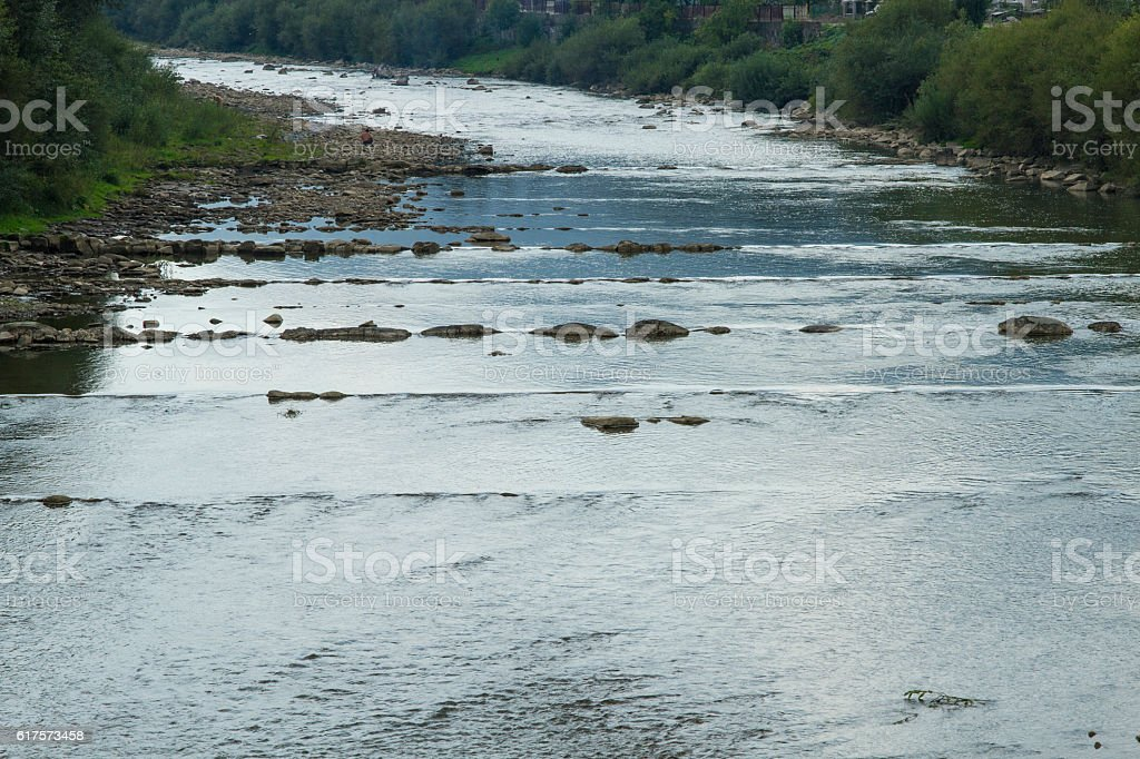Mountain beautiful River in the Carpathians stock photo