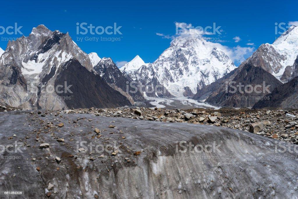 K2 mountain behind Vigne glacier, K2 trek, Pakistan stock photo
