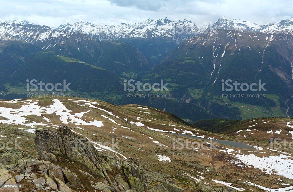 Mountain Bettmeralp summer view(Switzerland) stock photo