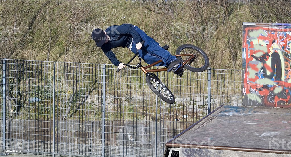 Mountain bicycle Stunt royalty-free stock photo