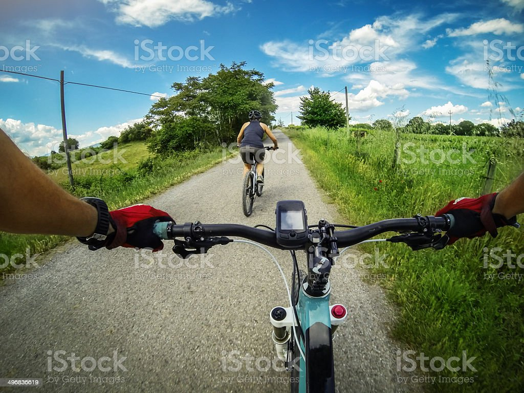 Mountain bicycle video: on a road in Tuscany stock photo