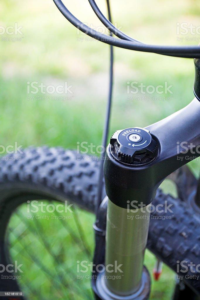 Mountain bike absorber detail royalty-free stock photo