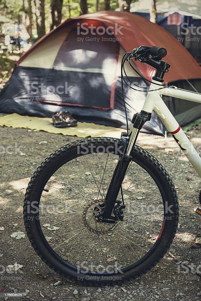 Mountain Bike at Campsite stock photo