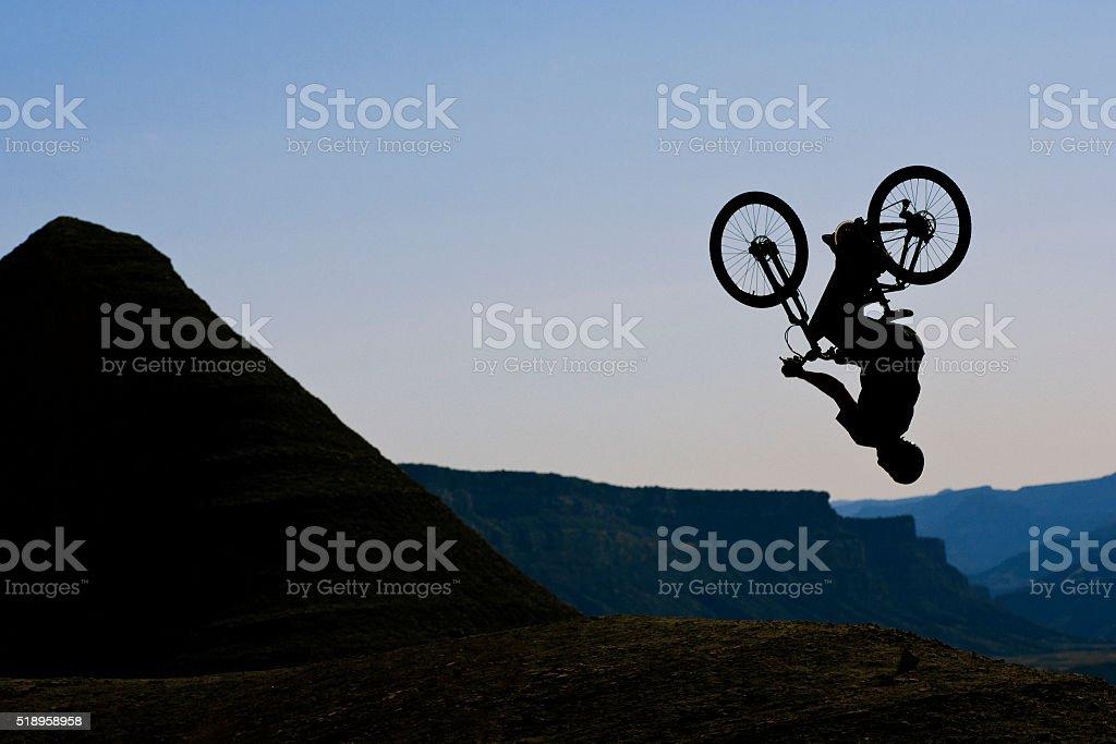 Mountain Bike Back Flip stock photo