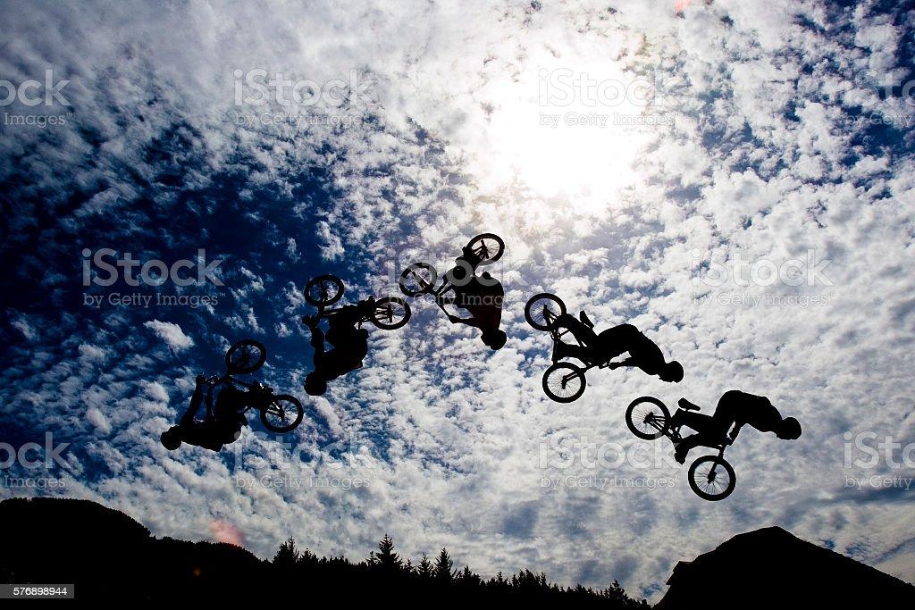 Mountain bike back flip. stock photo