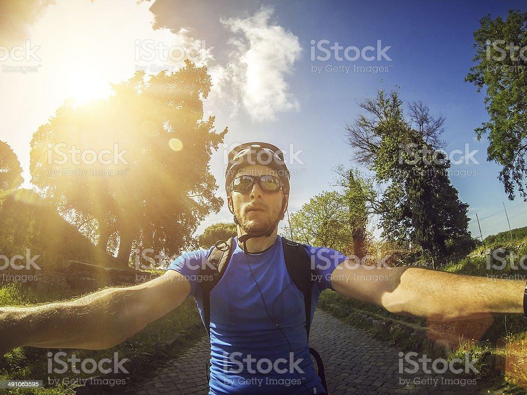 Mountain Bike: biker view stock photo